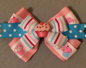 Pink and Blue Cupcake Large Hair Bow / Cupcake Hair Bow / Birthday Hair Bow / Pink Hair Bow / Blue Hair Bow / Large Hair Bow / Hair Bow