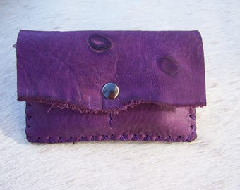 Handcrafted tobacco violet purple leather, raw leather with natural, solid, original and functional marking for men or women