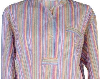 Linen cotton nightshirt, rainbow colour stripes, shell buttons, shirt tail, long length, size medium
