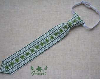 Toddler gift kids gift Baby gift kids tie green cotton fabric cross stitch hand embroidered unique gift special occasions tie kids clothing
