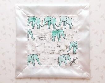 Elephants Lovie / Lovey Minty Gray Grey, Personalized Satin Baby Lovie, Lovey Blanket, Lovie Blanket, Satin Edge, Minky Security Blanket
