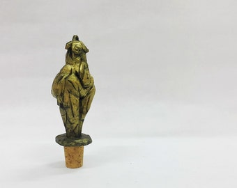 Woman Body Abstract Sculpture wine stopper bottle stopper natural cork11cm bronze Powder gift aged and waxed (no paint)