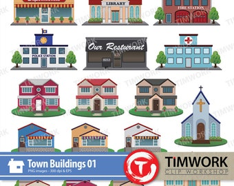 Vector town house buildings #01! 17 Town buildings cliparts! ! Vector Graphic! Vector House building clipart!  PNG & EPS