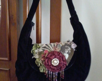 victorian style boho embellished  gypsy shoulder bag