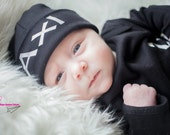 Black and white Personalized newborn boy hat - newborn baby boy hat - baby boy take home beanie - new baby hat - newborn boy beanie
