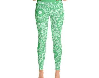 Emerald Green Yoga Leggings - Green Leggings, Green and White Printed Leggings, Mandala Art Tights, Green Stretch Pants