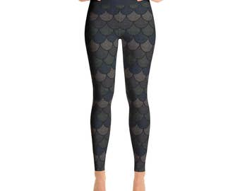 Black Mermaid Leggings - Black Yoga Pants, Dragon Scales, Mermaid Scales, Fish Scales, Black Mermaid Tights, Printed Leggings