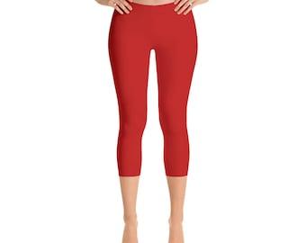 Red Capris Leggings for Women, Mid Rise Waist Workout Pants, Yoga Leggings