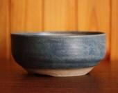 Round bonsai pot in a matte dark turquoise glaze