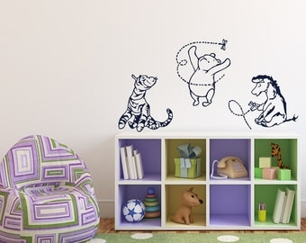 Winnie The Pooh Wall Decal  Classic Winnie The Pooh Tigger Eeyore Wall  Decals Nursery Kids Part 49