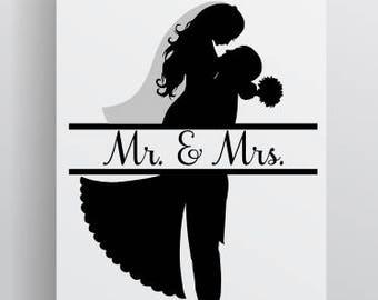Mr and Mrs SVG file; Wedding SVG file; Bride and Groom SVG; Bride svg; Groom svg