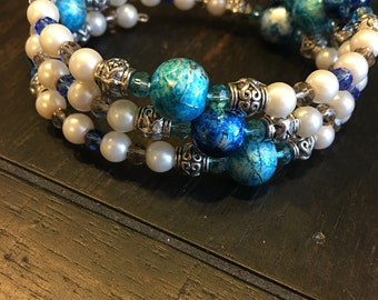 Blue and Pearl Wrap Bracelet