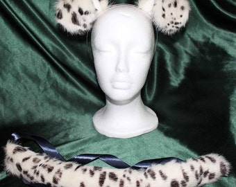 Puppy Tail and Ears Set, Dalmation faux fur Set, Silky Smooth, Cosplay, Anime, Furry, Costume