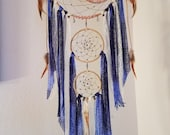 RESERVED FOR MYGYPSY***Tree Of Life Crescent Dream Catcher/Blue/Fancy Agate/Swarovski