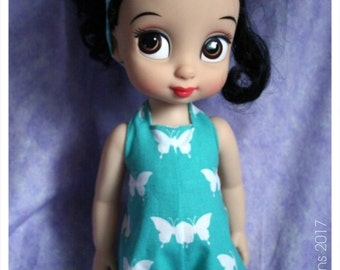 16 Inch Animator Doll Clothing Teal Butterfly Halteralls