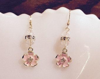 Dainty Pastel Pink Enamel Flower, Beads & Rhinestone Earrings
