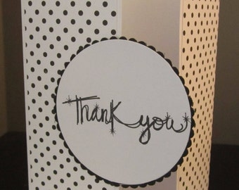 Thank You Card: Black and White Card, Gate Fold, Handmade Card, Stampin up