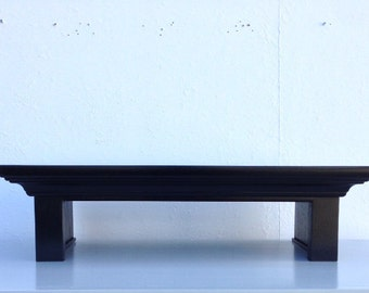 Traditional Oak TV Riser Stand Crown Molding Style in Black Finish