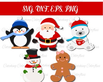 Christmas characters SVG cut files, Christmas Holiday SVGs, Winter Cut Files, Snowman SVG, Santa Clause SVG