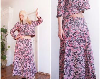90s Twin Piece Set Matching Two Piece Set Black Pink Floral Top Maxi Skirt Summer Twin Set Medium Large Cropped Blouse Floaty Maxi Skirt M L