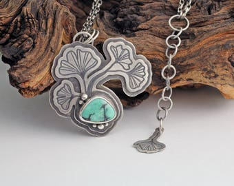 Silver ginkgo necklace with Nevada variscite - green turquoise neckace - botanical necklace