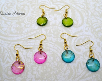 Set of Three Colouful Acrylic Disk Earrings with Gold Coloured Accents
