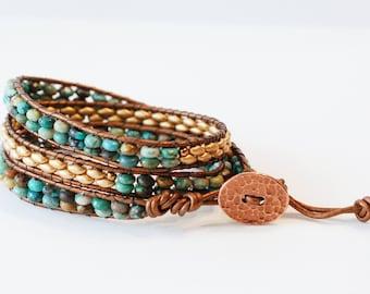 Turquoise Beaded Wrap Bracelet, Leather Wrap Bracelet, Triple Wrap Bracelet, Turquoise and Gold Tone