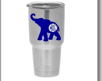 Elephant decal for yeti, elephant monogram, elephant decal, custom monogram. decal for yeti, yeti decals, elephant stickers, vinyl monogram