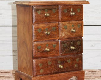 Vintage Polished Wood Small Far Eastern or Indian Jewellery, Trinket, Storage Cabinet or Chest with Brass Decoration on Drawers