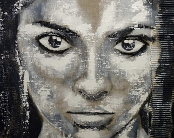 "SOLD Portrait XXL  27"" x 27"" in artLigne face art black & white original acrylic  Contemporary Fine Art  handpainted original"