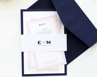 Elizabeth Elegant Navy And Blush Wedding Invitation Sets, Modern Invitation  Kit, Chic Wedding Stationery