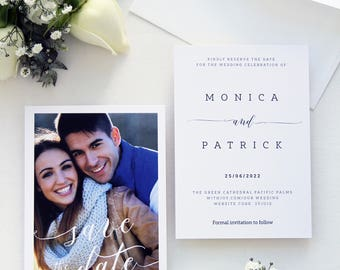 Monica Save the Date Cards, Photo Save the Date Cards, Printable Save the Dates or Printed Cards, Modern Calligraphy Cards