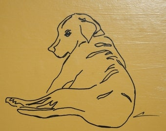 Labrador artwork, yellow lab art, Labrador children's room, Lab, Labrador illustration, Labrador drawing, labrador nursery art