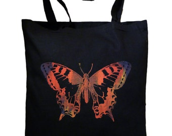 "Jute bag ""Dovetail"" multicolored on black, screen printing, butterfly"