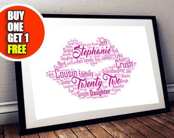 Lips personalised art print,  lips print, Lips artwork ideal for 21st or 18th girls gift