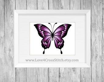 Purple Butterfly Cross Stitch Pattern Modern, Large Purple Butterfly Cross Stitch, Ombre Butterfly Cross Stitch, PDF Pattern Modern Wings