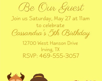 Cute Beauty and the Beast Invitations, Belle, Beast, Lumiere, Cogsworth, Chip, Mrs. Potts