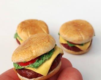 1:3 Scale Burgers 3 pieces Miniature Food American girl Doll  Food  Bjd Doll Food BJD props