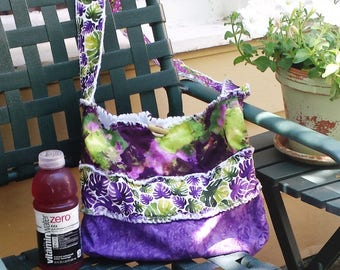 Tote bag pattern, very purple upcycled purse, Recycled shoulder bag, purple upcycled book bag, repurposed tote bag