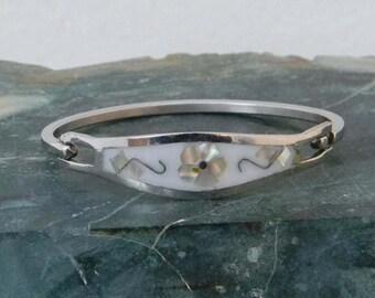 "Taxco Mexico Silvertone 6-1/2"" Vintage White Hinge Bracelet Abalone Shell Inlay V13"