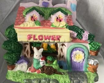 Hand painted bunnie flower shop