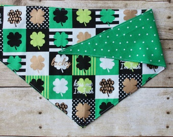 Green Polka Dot Dog Bandana/St. Patrick's Day Shamrock Reversible Tie On Dog Bandana/Kiss Me I'm Irish
