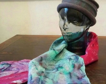 HANDMADE nuno felt scarf, felted wrap in green and purple made on hand dyed silk