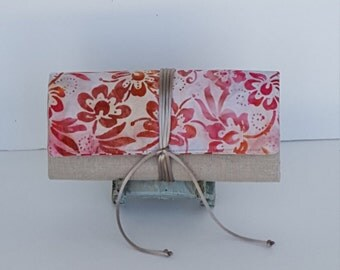Organizer Jewelry Roll/Rose/Orange Floral On Batik/ Travel Jewelry Roll/ Bridesmaid Gift/ Natural Linen Jewelry Roll/Storage Jewelry Roll