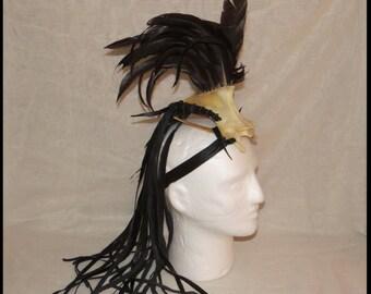 Warrior HEADDRESS -FEATHER Headdress - BONE Headdress- LEAThER FRiNGE Headdress TRIBaL WARRiOR Apocalyptic Headdress by WastelandWearable