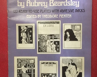 Art Nouveau Bookplates magazine by Aubrey Beardsley. 122 ready to use bookplates. Vintage 1970s. Unused, new old stock.