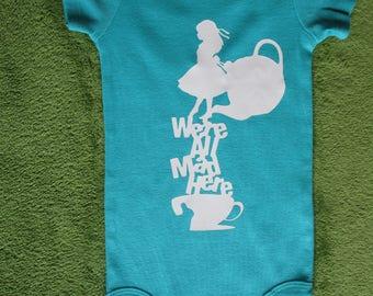 We're All Mad Here Baby Onesie, Alice in Wonderland Onesie
