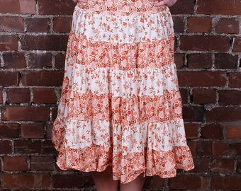 Vintage 70s High Waist Skirt Floral Gypsy Hippie Ruffled Tiered Patchwork Orange and White Flowers UK 8