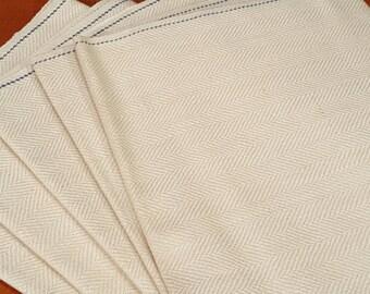 Lovely linen herringbone tea towels, Sweden, 1950s (V87)