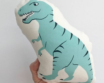 Organic cotton soft toy, Modern kids stuffie, dinosaur kids toy, T-Rex printed mini cushion